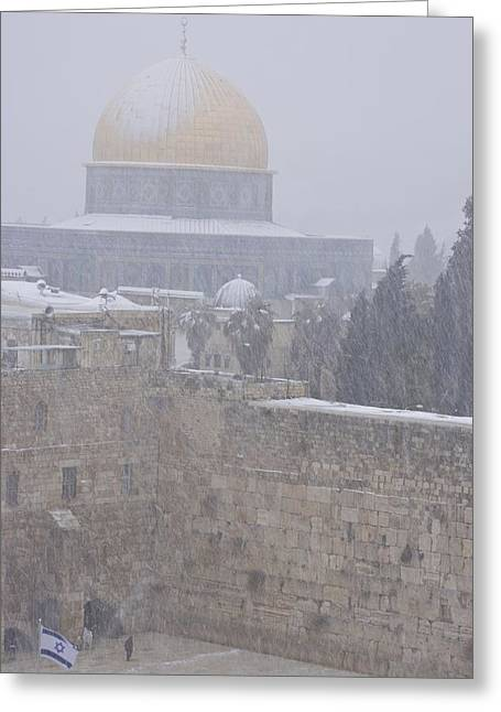 A  Winter Storm Dusts Jerusalems Golden Greeting Card