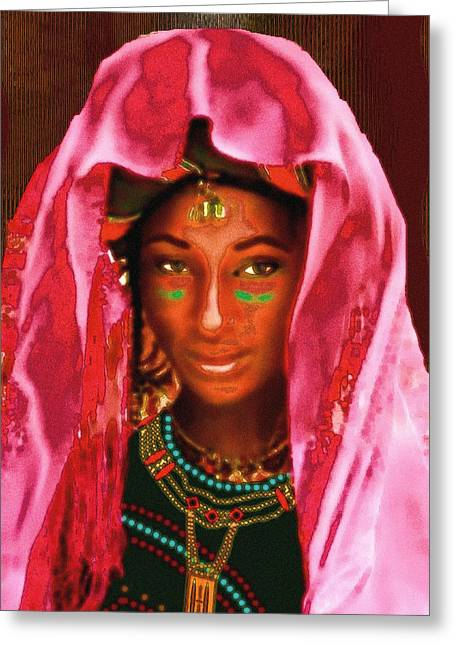 Greeting Card featuring the painting A Wodaabe Bride by Jann Paxton