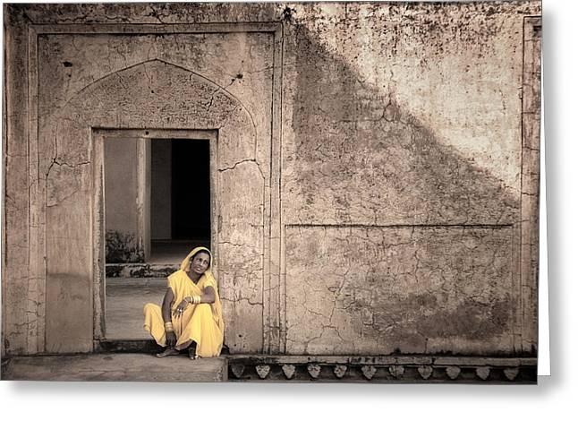 A Woman In Yellow Dress Greeting Card by Mostafa Moftah