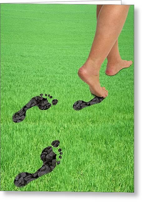 A Woman's Feet Leaving Carbon Footprints Greeting Card