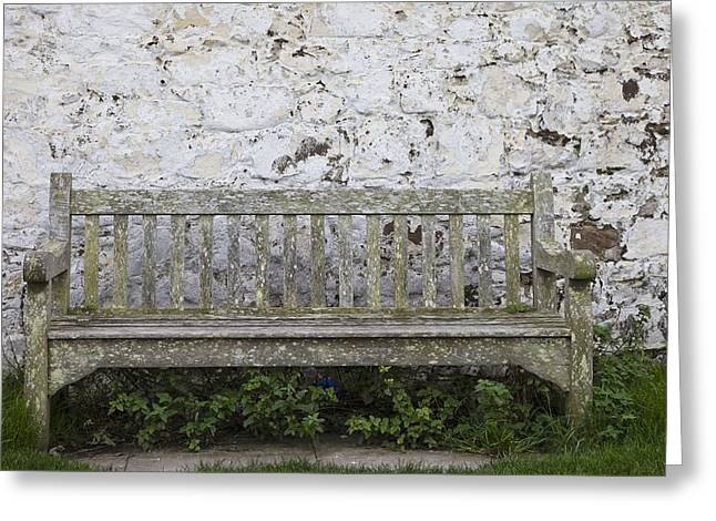 A Wooden Bench With Peeling Paint Greeting Card by John Short