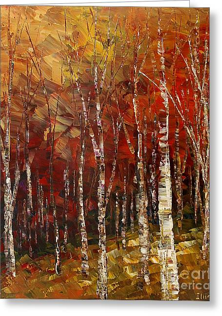 Greeting Card featuring the painting A Woodpath by Tatiana Iliina