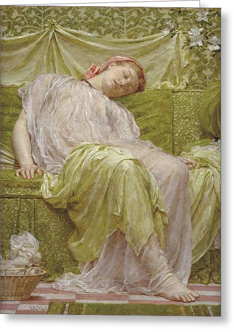 A Workbasket Greeting Card by Albert Joseph Moore