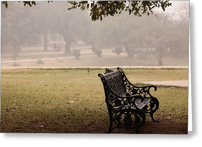A Wrought Iron Black Metal Bench Under A Tree In The Qutub Minar Compound Greeting Card by Ashish Agarwal