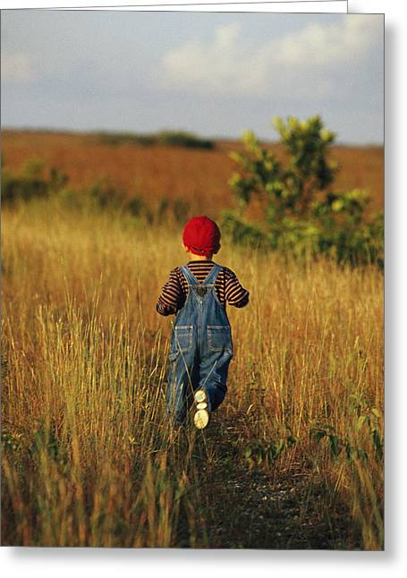 A Young Boy Walks On A Path Greeting Card by Raul Touzon