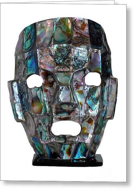 Abalone Mayan Mask Greeting Card by Shawn O'Brien