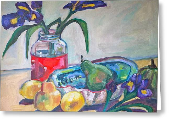 Abalone Shell Fruit And Flowers Greeting Card by Michelle Grove