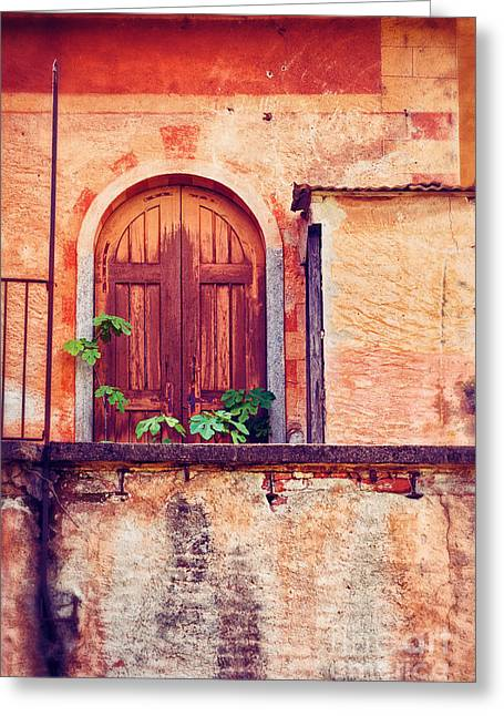 Abandoned Building Door With Leaves Greeting Card by Silvia Ganora
