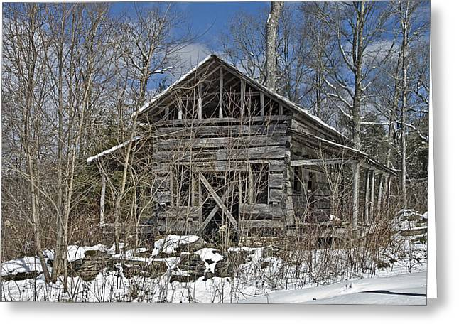 Abandoned House In Snow Greeting Card by Susan Leggett