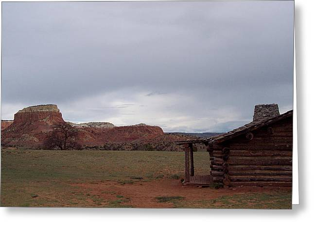 Abiquiu Cabin Greeting Card by Susan Alvaro