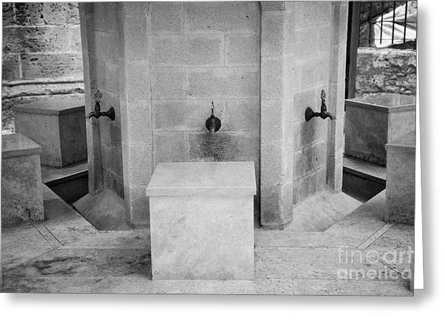 Ablution Fountains Outside The Lala Mustafa Pasha Mosque In Famagusta Turkish Republic Cyprus Greeting Card by Joe Fox