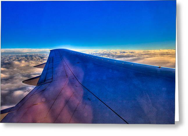 Above The Clouds On A 757 Greeting Card by David Patterson