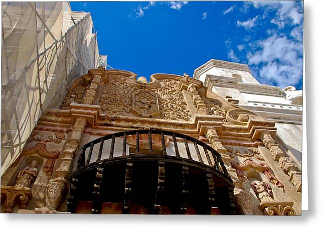 Above The Front Entry San Xavier Mission Greeting Card by Jon Berghoff
