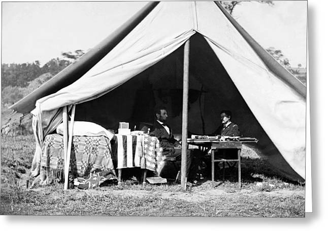 Greeting Card featuring the photograph Abraham Lincoln Meeting With General Mcclellan - Antietam - October 3 1862 by International  Images