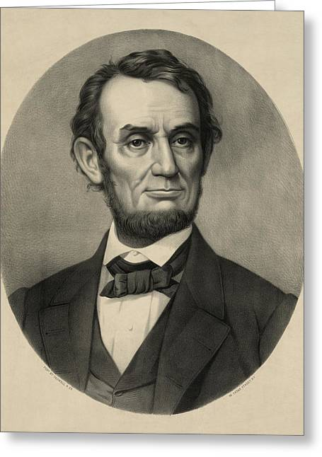 Greeting Card featuring the photograph Abraham Lincoln Portrait by International  Images