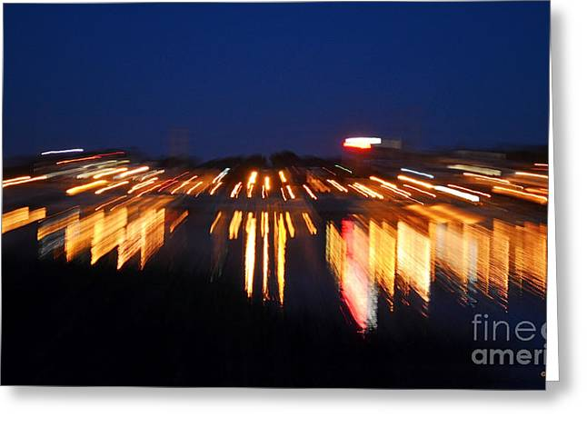 Abstract - City Lights Greeting Card by Sue Stefanowicz