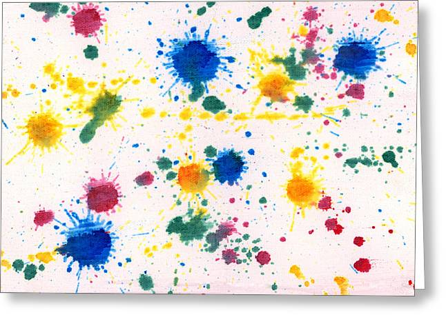 Abstract - Gesso And Food Color - My New Carpet Greeting Card by Mike Savad