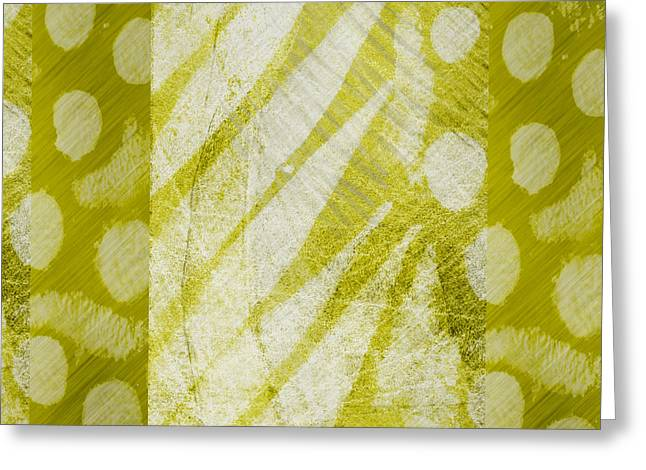 Abstract 204 Green Square Greeting Card by Ann Powell