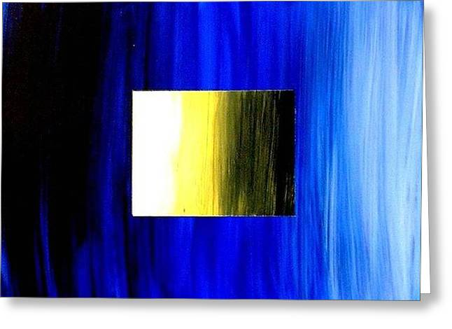 Abstract 3d Golden Blue  Square Greeting Card by Teo Alfonso