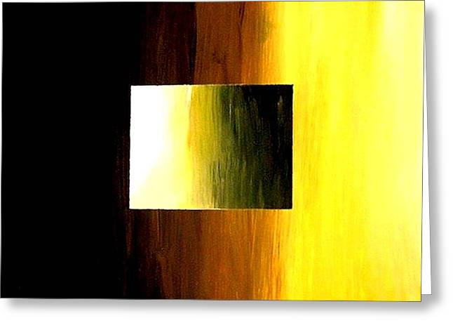 Abstract 3d Golden Square Greeting Card by Teo Alfonso