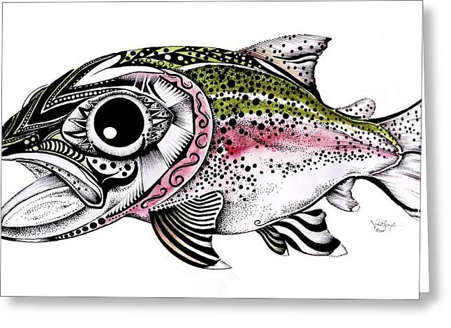 Abstract Alaskan Rainbow Trout Greeting Card