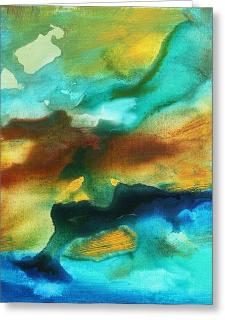Abstract Art Colorful Turquoise Rust River Of Rust II By Madart Greeting Card by Megan Duncanson