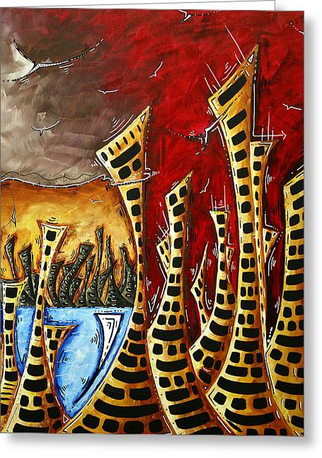Abstract Art Contemporary Coastal Cityscape 3 Of 3 Capturing The Heart Of The City II By Madart Greeting Card by Megan Duncanson