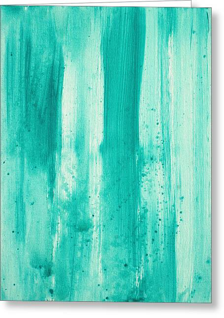 Abstract Art Original Decorative Painting Aqua Passion By Madart Greeting Card by Megan Duncanson