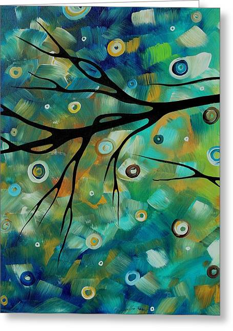 Abstract Art Original Landscape Painting Colorful Circles Morning Blues II By Madart Greeting Card by Megan Duncanson