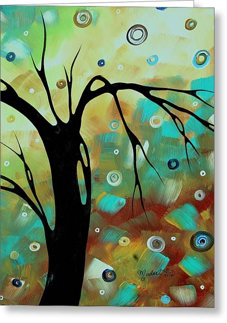 Abstract Art Original Landscape Painting Colorful Circles Morning Blues IIi By Madart Greeting Card by Megan Duncanson