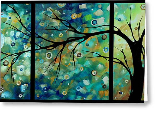 Abstract Art Original Landscape Painting Morning Blues By Madart Greeting Card by Megan Duncanson