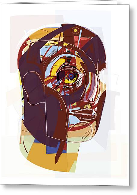 Abstract Artwork Of A Person's Face Greeting Card by Paul Brown