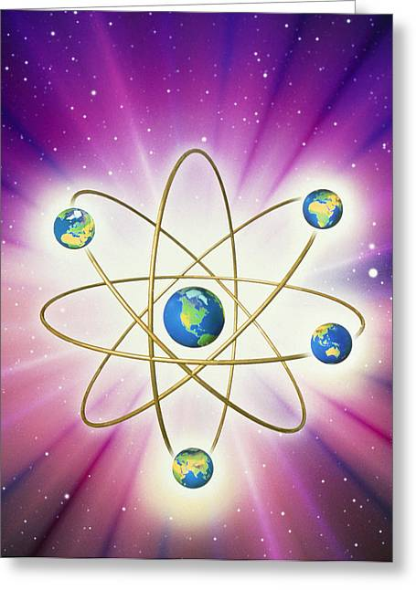 Abstract Artwork Of Earth Arranged As An Atom Greeting Card by Mehau Kulyk
