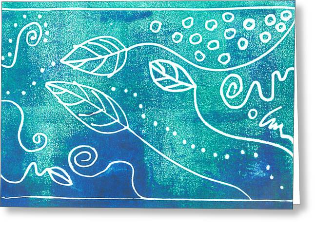 Abstract Block Print In Blue Greeting Card by Ann Powell