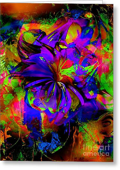 Abstract Blue And Red Greeting Card by Doris Wood