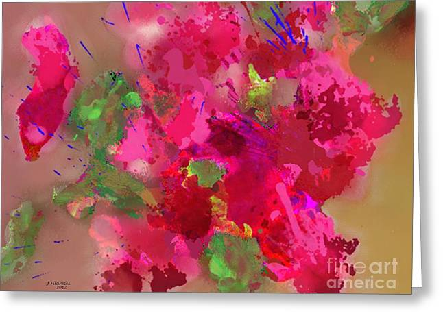 Abstract Bougainvillea Painting Floral Wall Art Greeting Card by Judy Filarecki