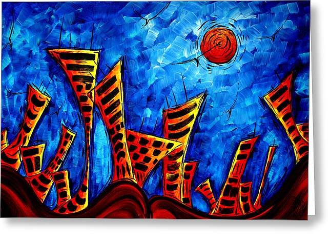 Abstract Cityscape Art Original City Painting The Lost City II By Madart Greeting Card by Megan Duncanson