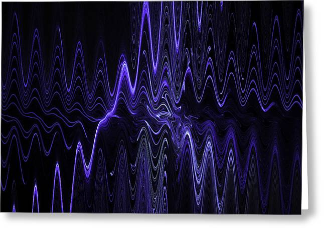 Abstract Digital Blue Waves Fractal Image Black Computer Art Greeting Card by Keith Webber Jr