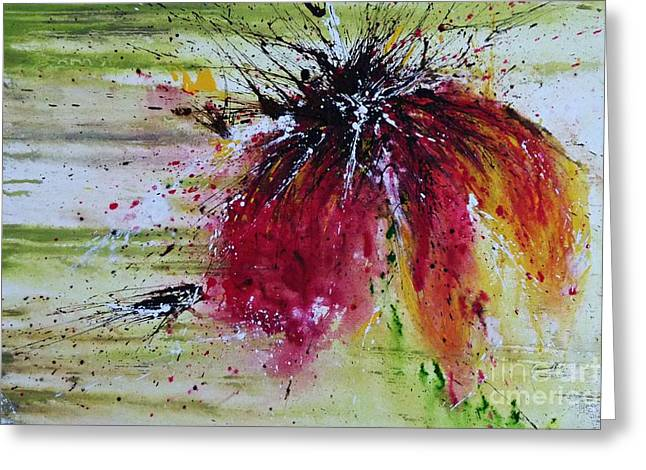 Greeting Card featuring the painting Abstract  Flower by Ismeta Gruenwald