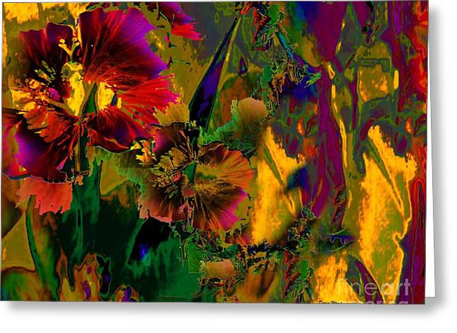 Abstract Flowers Greeting Card by Doris Wood