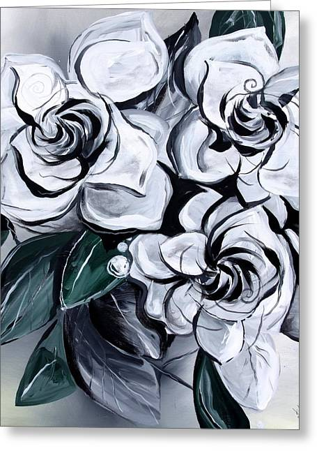 Abstract Gardenias Greeting Card by J Vincent Scarpace