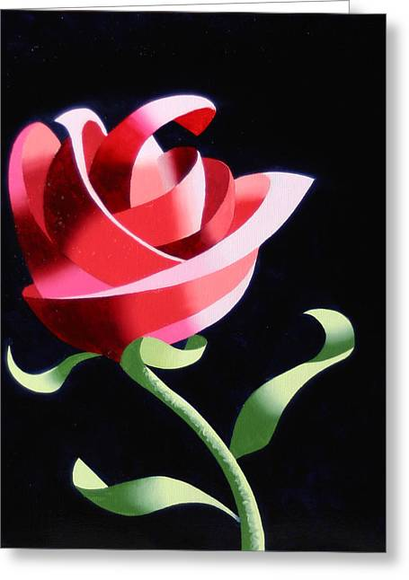 Greeting Card featuring the painting Abstract Geometric Cubist Rose Oil Painting 1 by Mark Webster