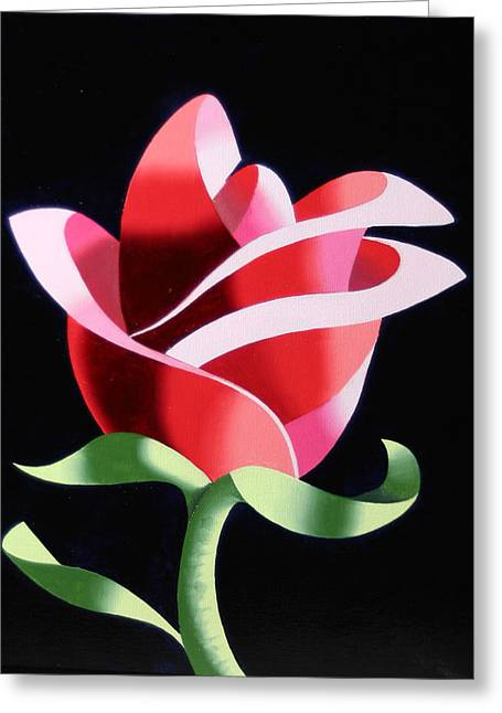 Greeting Card featuring the painting Abstract Geometric Cubist Rose Oil Painting 2 by Mark Webster