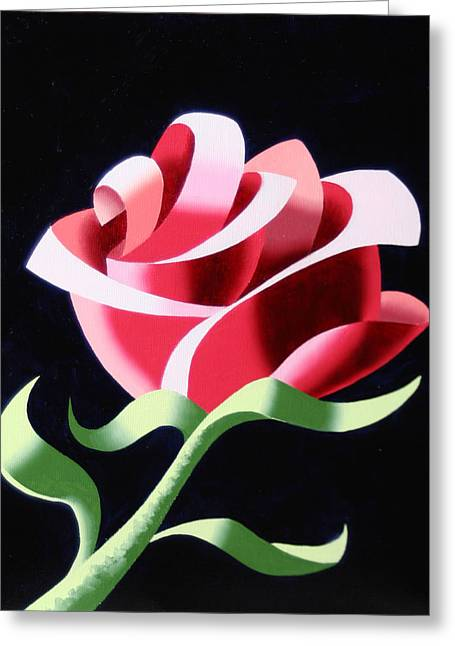 Greeting Card featuring the painting Abstract Geometric Cubist Rose Oil Painting 3 by Mark Webster