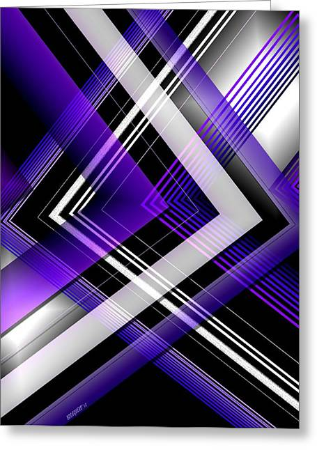 Abstract Geometry With Purple And White Lines Greeting Card by Mario Perez
