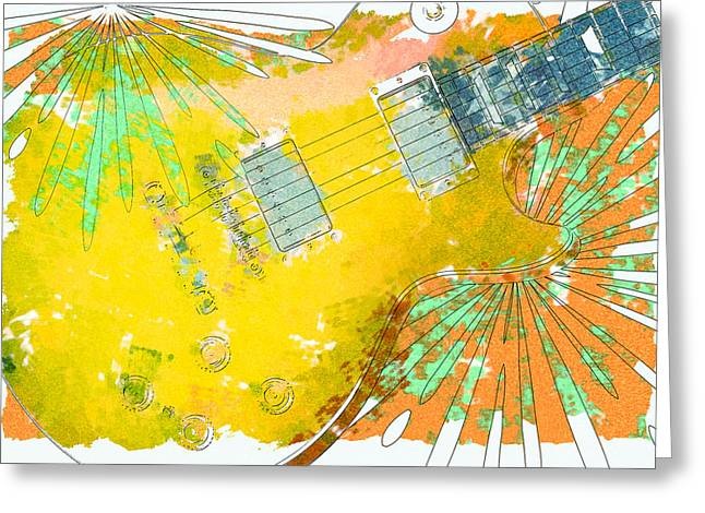 Abstract Guitar Greeting Card by David G Paul