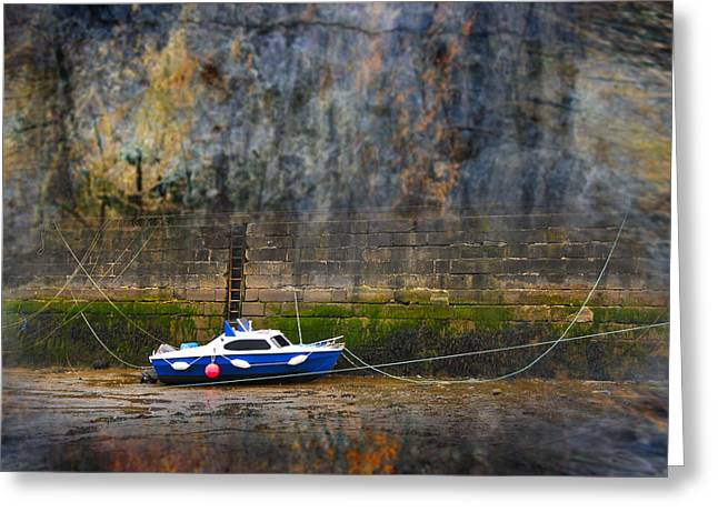 Abstract Harbour And Boat Greeting Card by Svetlana Sewell