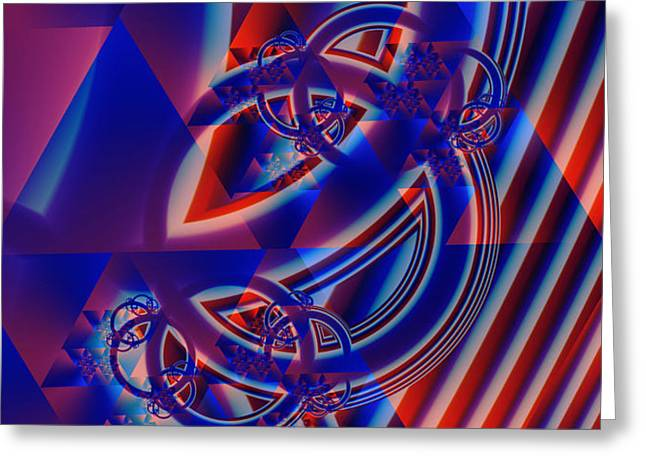 Greeting Card featuring the digital art Abstract In Red And Blue by Mario Carini