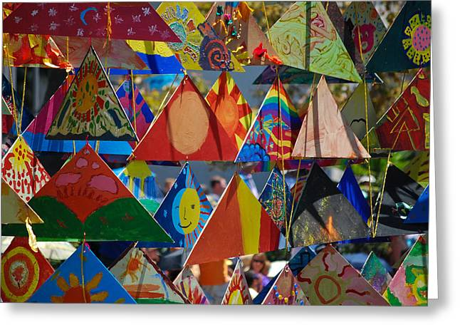 Abstract In Triangles Greeting Card by Peggy Zachariou