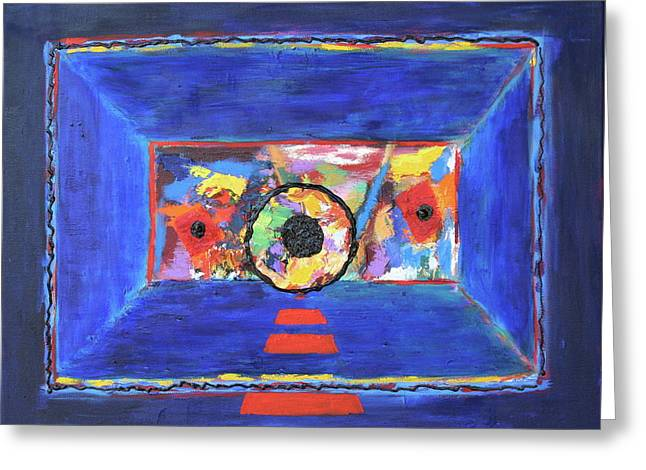 Greeting Card featuring the painting Abstract Interior by Karin Eisermann